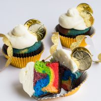 Make these fun Rainbow Cupcakes for a party or for St Patricks Day. So delicious and easy. Only on frenchiewraps.com