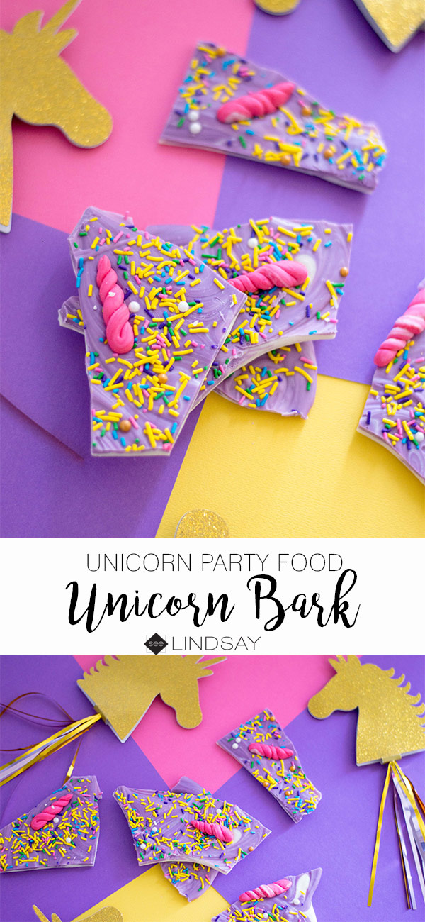 Create the perfect Unicorn Party Food by making this magical unicorn white chocolate bark. #delish #unicornparty #unicornfood