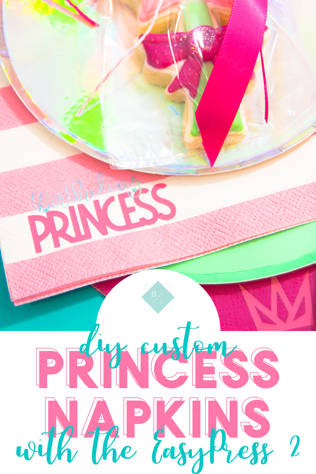 Create your own custom printed napkins at home and at a fraction of the cost. Personalize party napkins to fit any theme. #cricutmade #CricutEasyPress2 #ad #Cricut