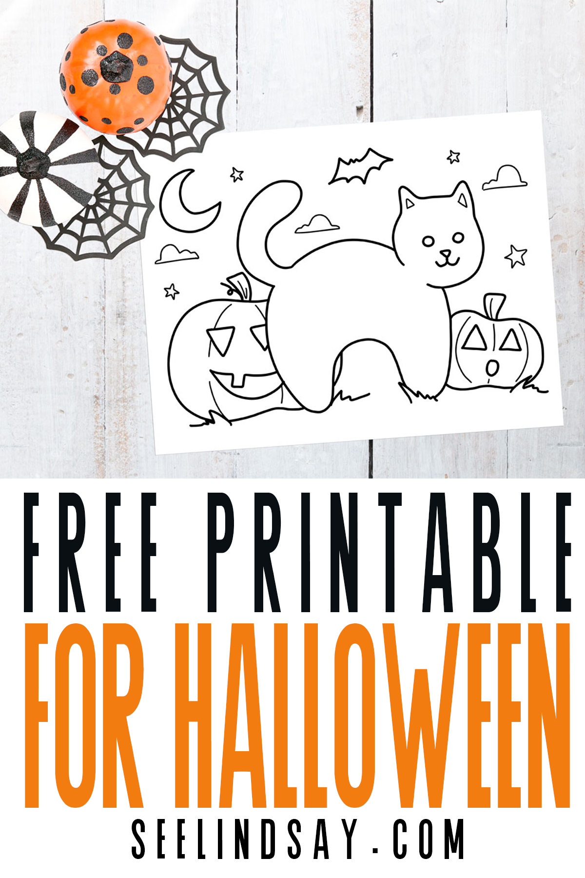 free halloween printable coloring page with black cat