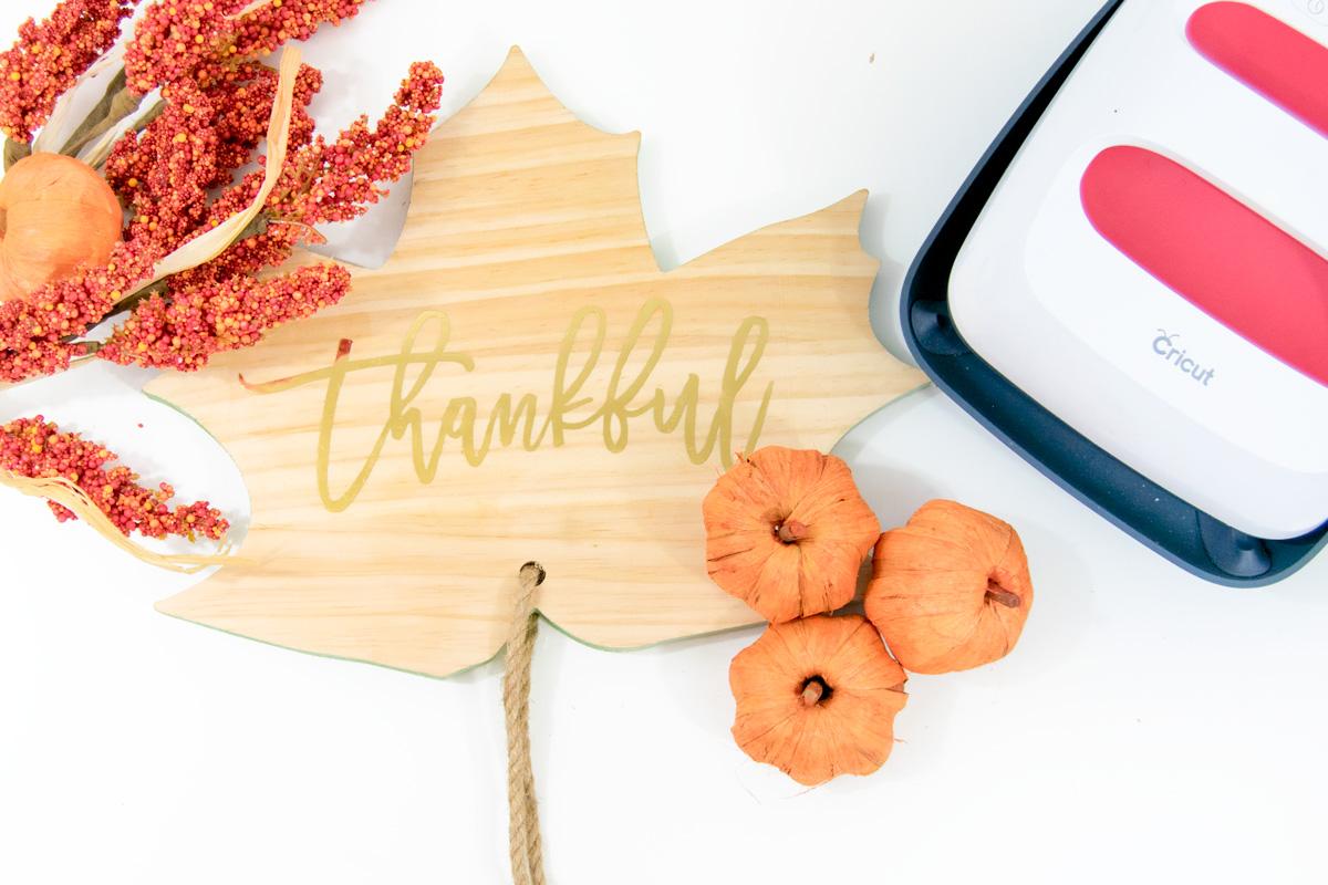 wood leaf with thankful word on it