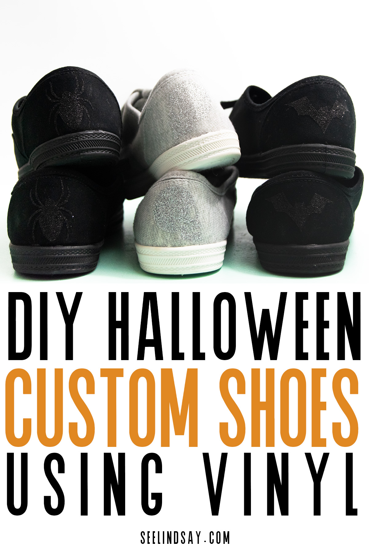 black, grey and black shoes with halloween decals
