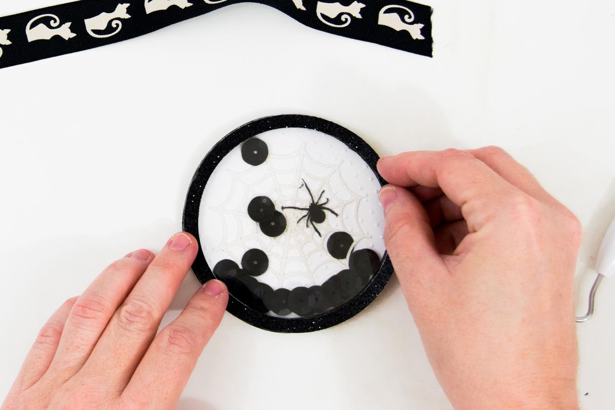 black glitter paper circle