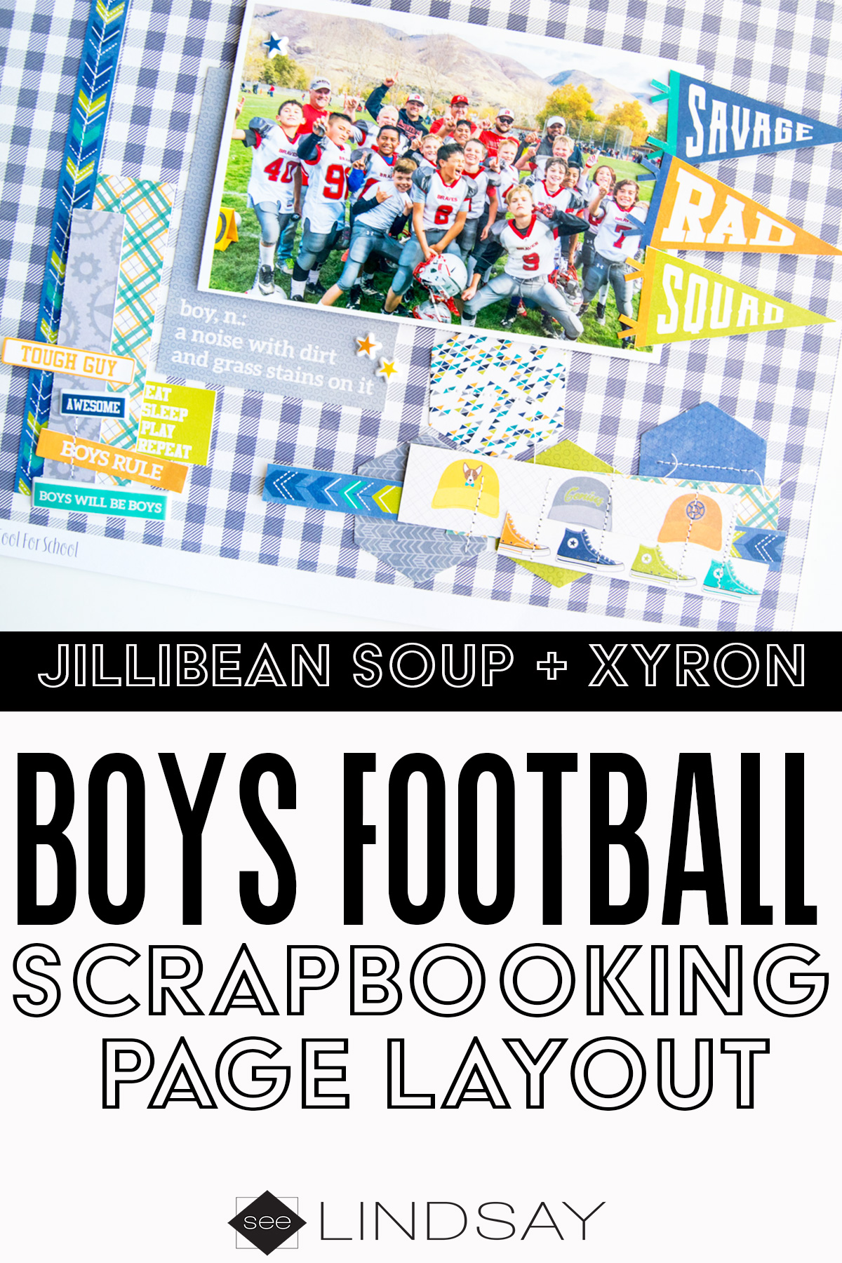 boys football scrapbook page