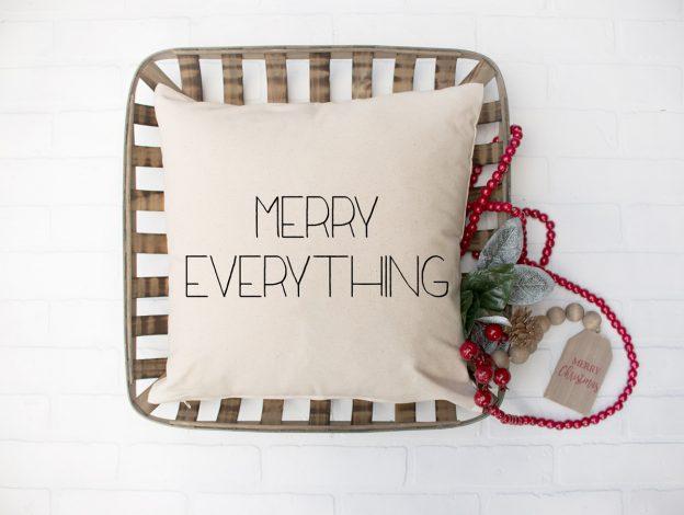 Christmas farmhouse pillow that says merry everything