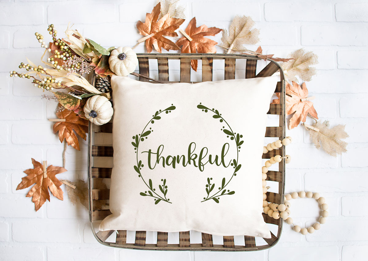 thanksgiving svg file on a pillow