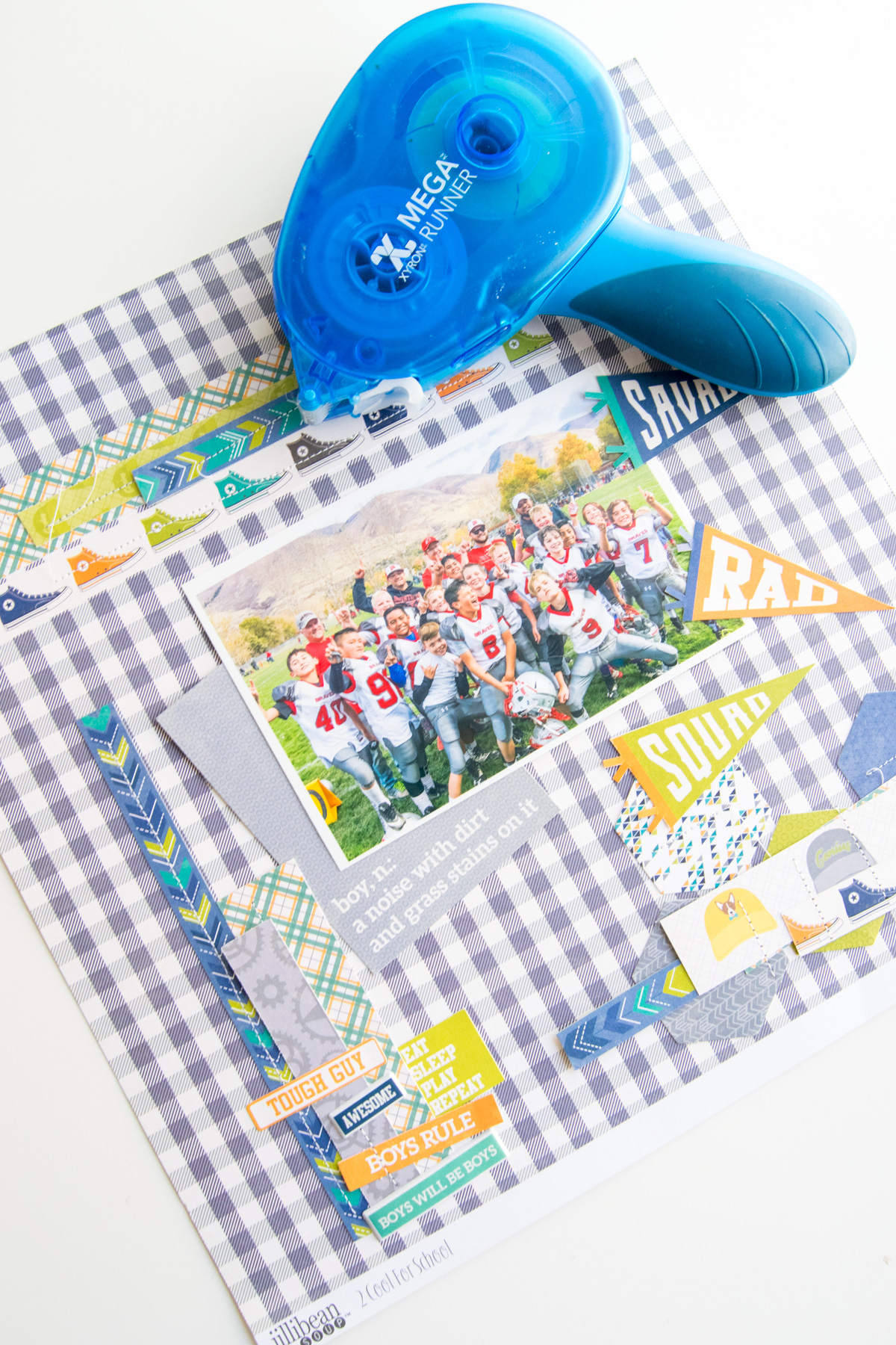jellybean soup scrapbook paper with a Xyron mega runner