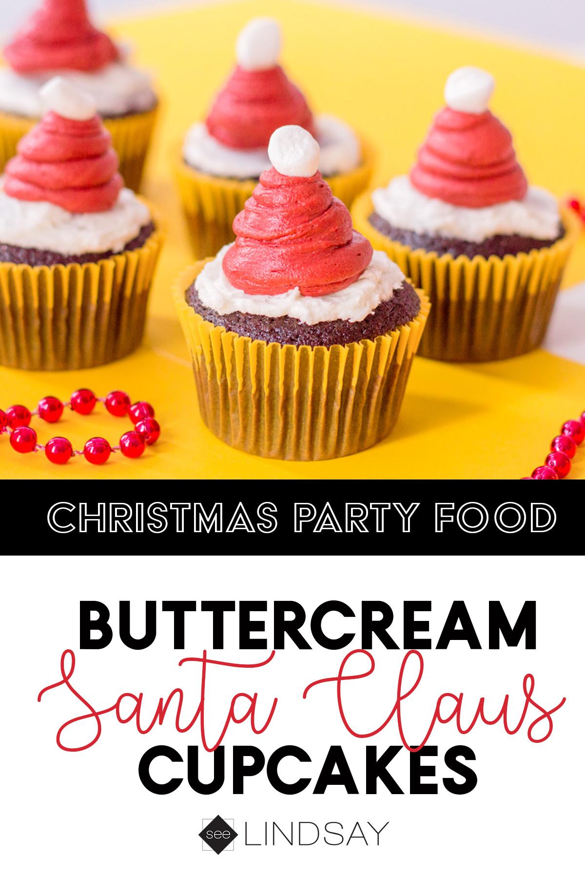 christmas Santa hat frosting on cupcake