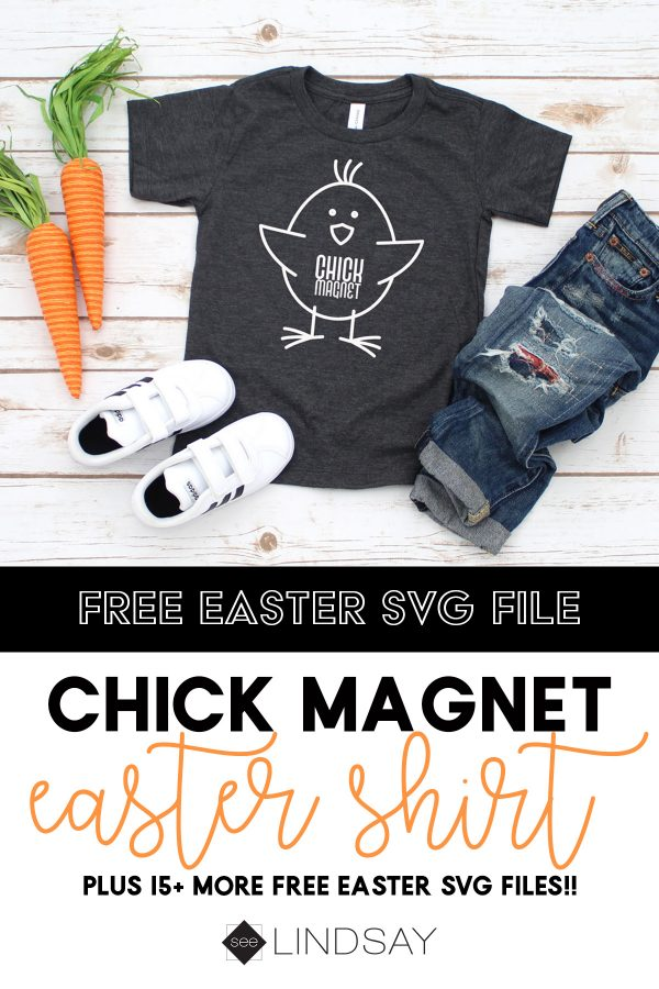 Create your own Easter Chick Magnet Toddle shirt with this free Easter SVG file. Get 15 more free Easter SVG files available for personal use. #totallyfreeavg #eastersvg #toddlereastershirt #eastershirt #toddlershirt #freesvg