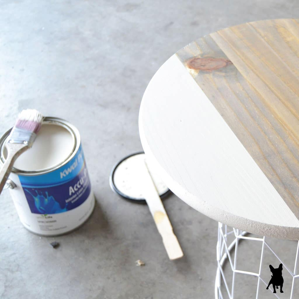 painting white accent on stained wood