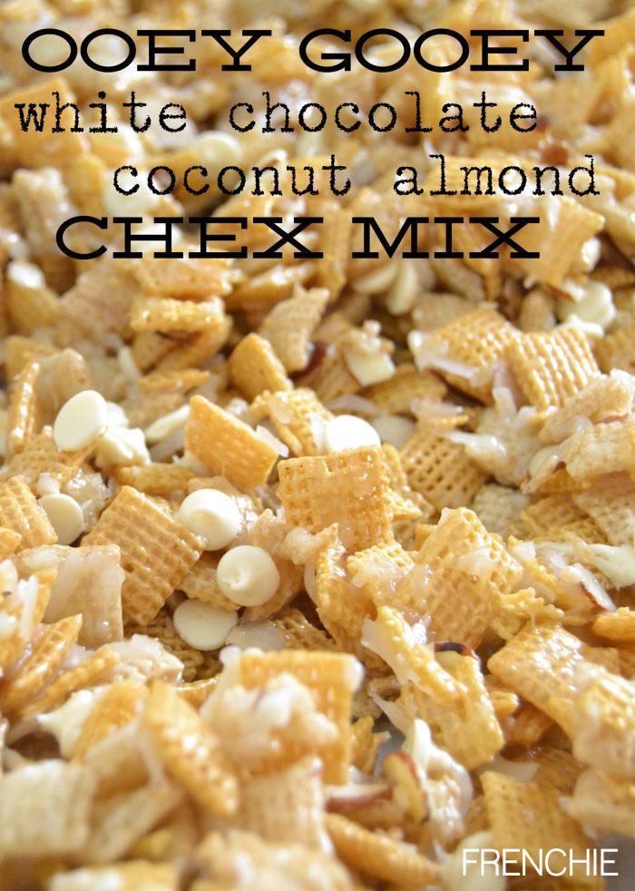 Ooey Gooey White Chocolate Coconut Almond Chex Mix