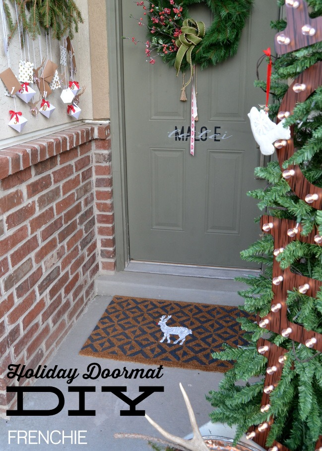 Create this easy doormat using Royal Design  Studio and a $9 doormat from Ikea on seelindsay.com