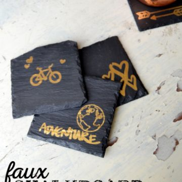 Create these faux chalkboard coasters with some rubons and slate tiles, so easy!