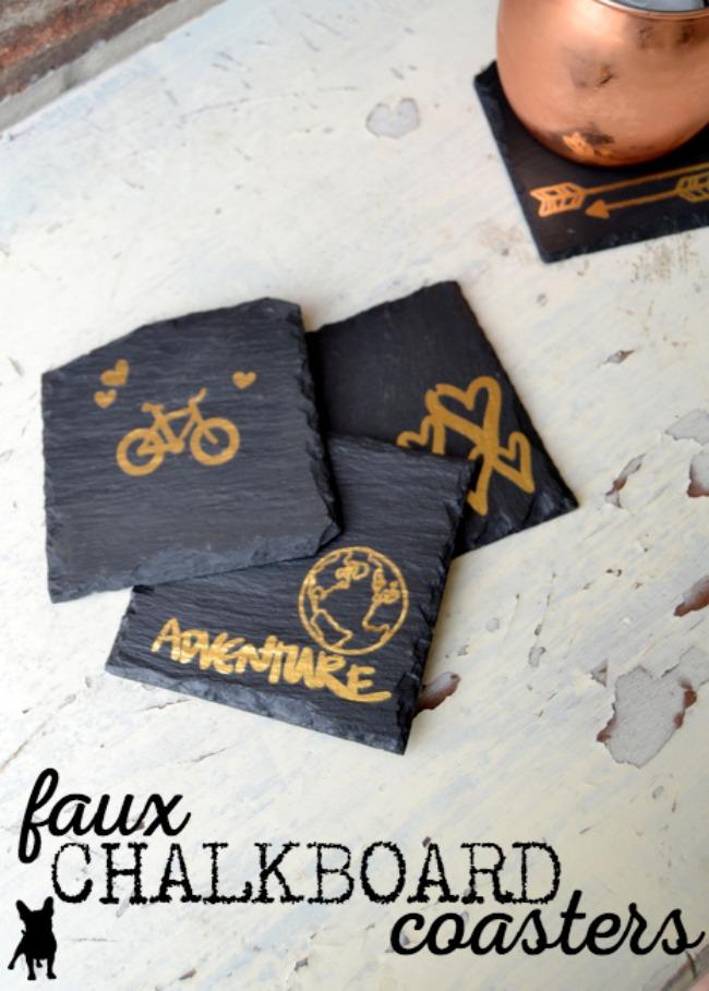 Faux chalkboard coasters