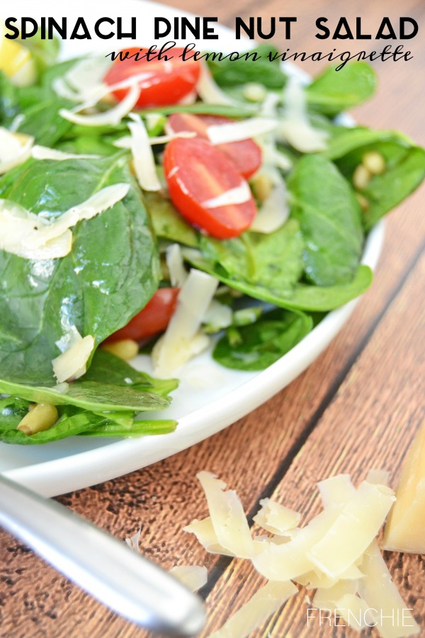 Make this delicious Spinach Pine Nut Salad with Lemon Vinaigrette, only on seelindsay.com #WarmthInACrust #Ad