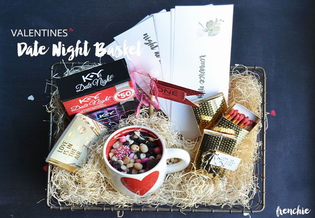 Create a memorable Valentines Day with your spouse and create this fun Date Night gift basket to last the whole year only on seelindsay.com #YoursandMine #Ad