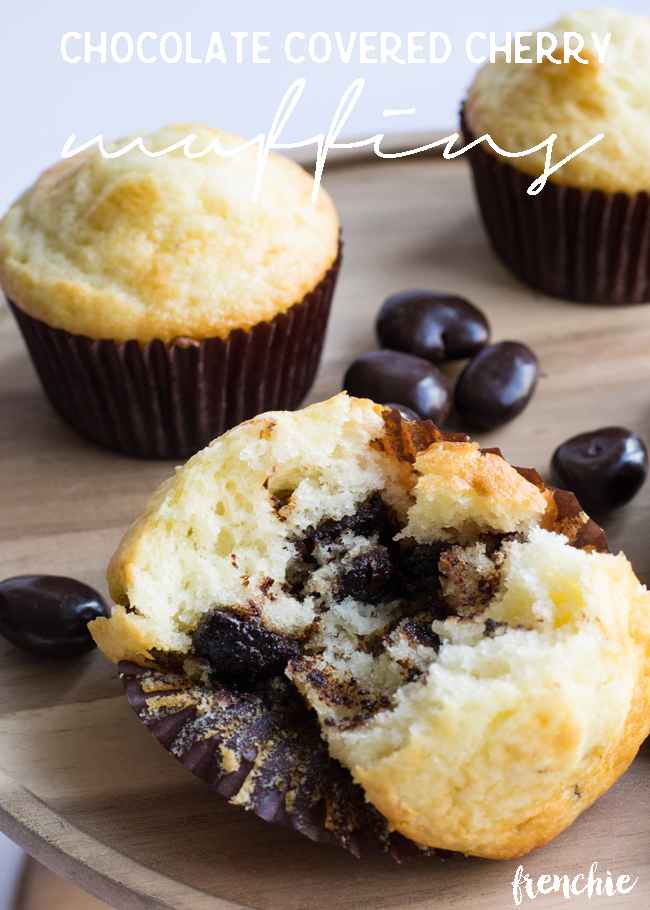 Make these mouthwatering Chocolate Covered Cherry Breakfast Muffins using the new Dove Fruits, recipe only on seelindsay.com