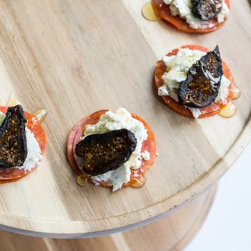 Make these amazing Pepperoni, Goat Cheese and Fig appetizers. Perfect for a cocktail party or a night in. Only on seelindsay.com