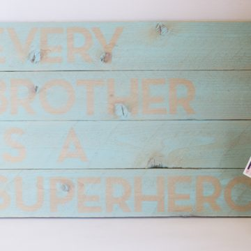 A Knock off of Pottery Barn's Superhero sign. Perfect for any boys' room!