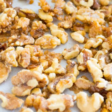 Five minutes to a delicious and easy recipe for candied walnuts.