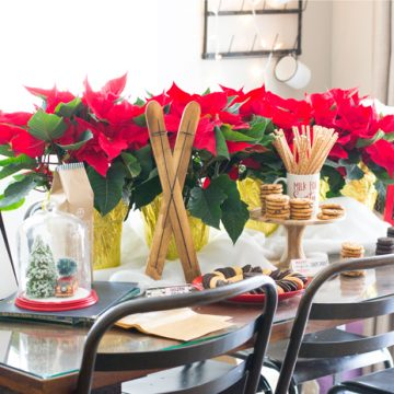 Easy ideas to throw a fun and woodsy Cookie Exchange Christmas Party.