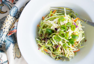 Broccoli Slaw Salad Recipe with Crunchy Ramen Noodles