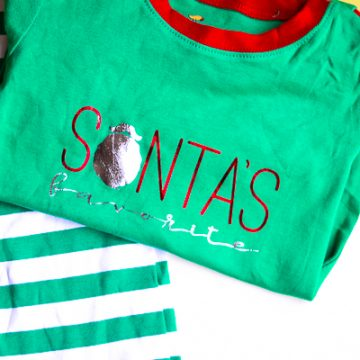 DIY Christmas Pajamas using foil iron-on vinyl and the Cricut EasyPress