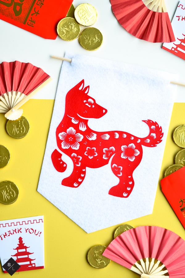 Chinese new year felt pennant