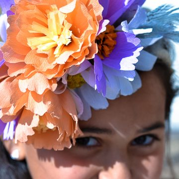 Make your own paper flowers using you Cricut and crepe paper. Create this unique floral crown.
