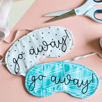 DIY Sleep Mask all cut on your Cricut Maker. Sewn together in 5 minutes. Make such a fun gift for girlfriends.