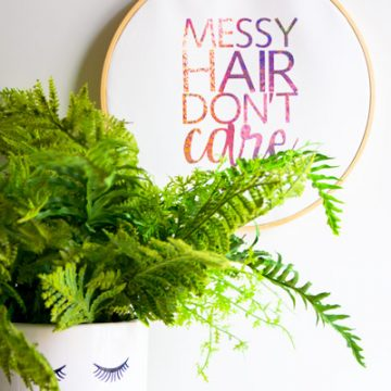 Create the cutest hoop art using your Cricut Wisteria Explore machine, available exclusively at JOANN stores. Use Cricut Sparkle vinyl to create the perfect shine. #CricutWisteria #ad #Cricut #CricutMade #Vinyl