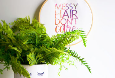 Messy Hair Don't Care Hoop Art with Cricut