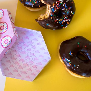 Use your DCWV scrapbook paper and your Xyron tools to make this DIY Donut Box. #CricutMade #Xyron #DonutCraft