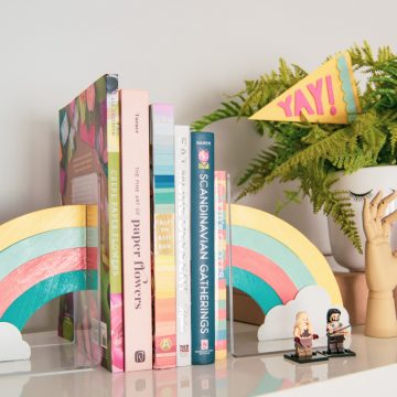 Did you know you can make your own bookends? Create these rainbow bookends using your Cricut Maker and wow everybody you know. #cricutmade #cricutmaker #cricut