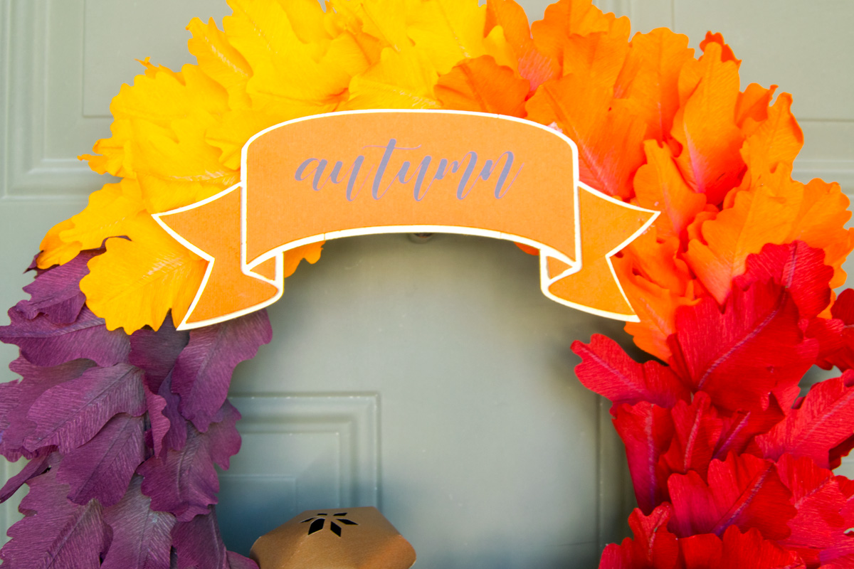 Crepe Paper Leaves turned into a stunning DIY Fall Wreath