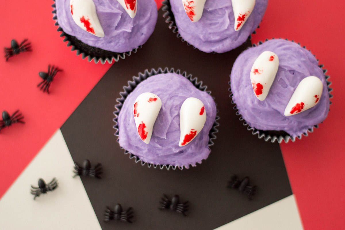 Easy Vampire Cupcakes for Halloween