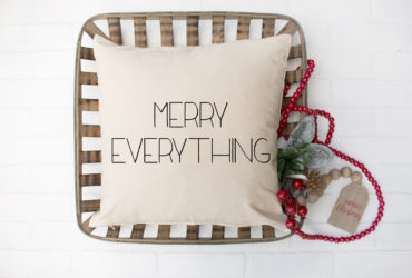 The Cutest Homemade Christmas Farmhouse Pillow and FREE SVG File