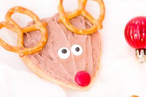 heart cookie decorated like a reindeer