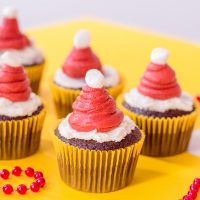cupcakes with red buttercream Santa hat