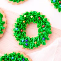 Christmas wreath cookies with candy