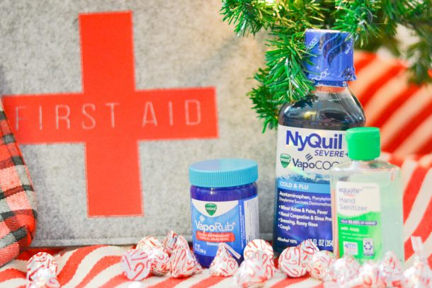 first-aid kit with Vicks medicine