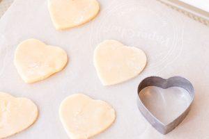 sugar cookies cut into hearts