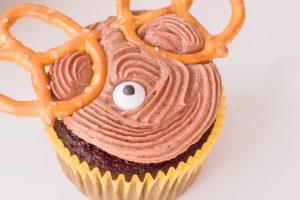 chocolate cupcakes made to look like a reindeer