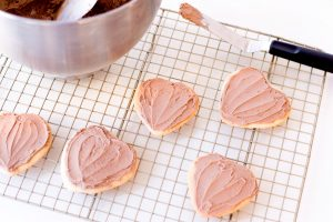 heart cookies with brown frosting