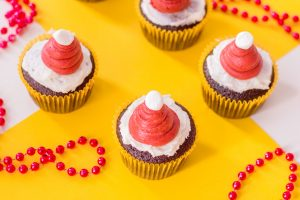 chocolate cupcake with red buttercream frosting