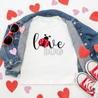 toddler valentine shirt that says love bug