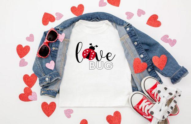 toddler valentine shirt that says love bug