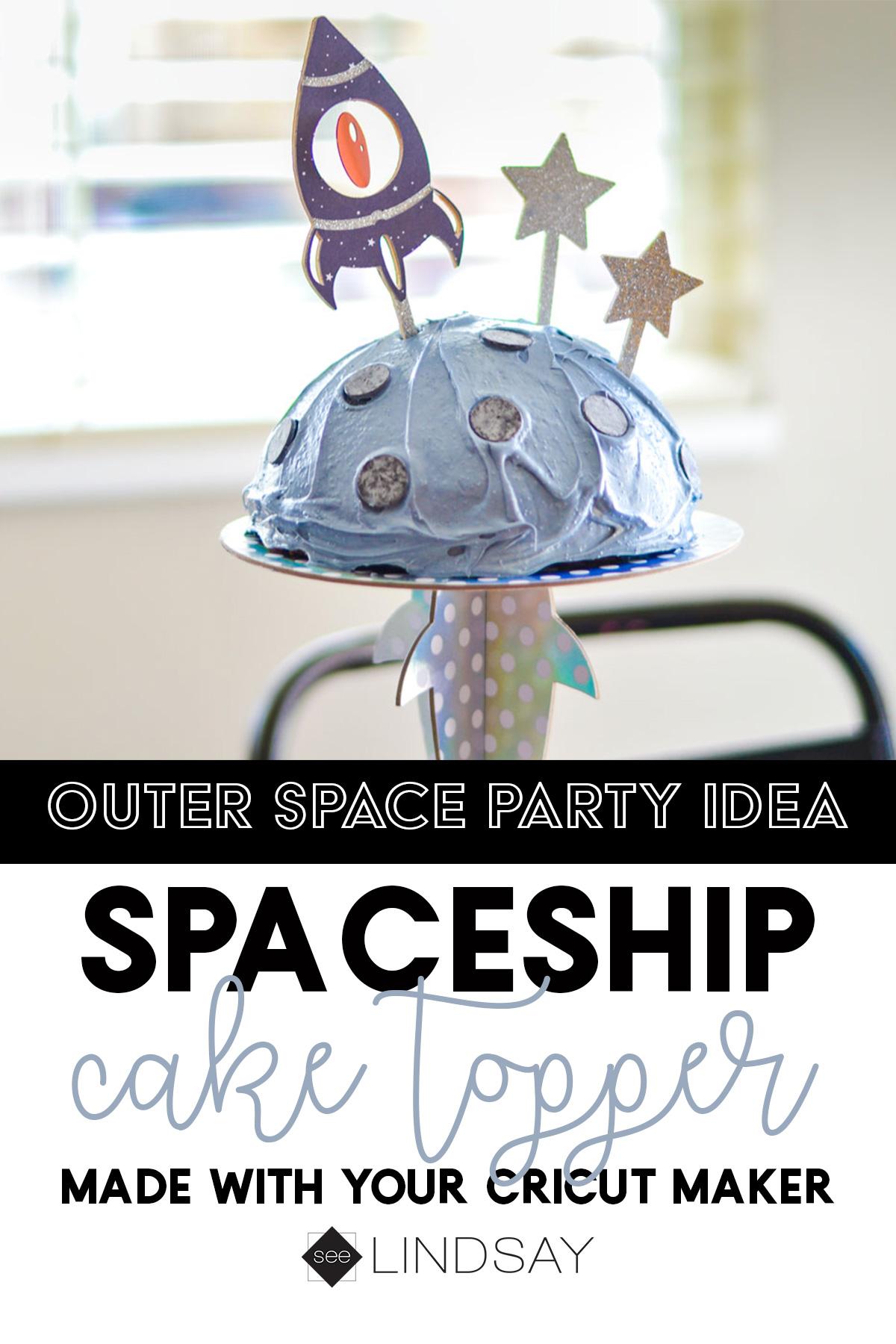 spaceship cake topper instructions Pinterest