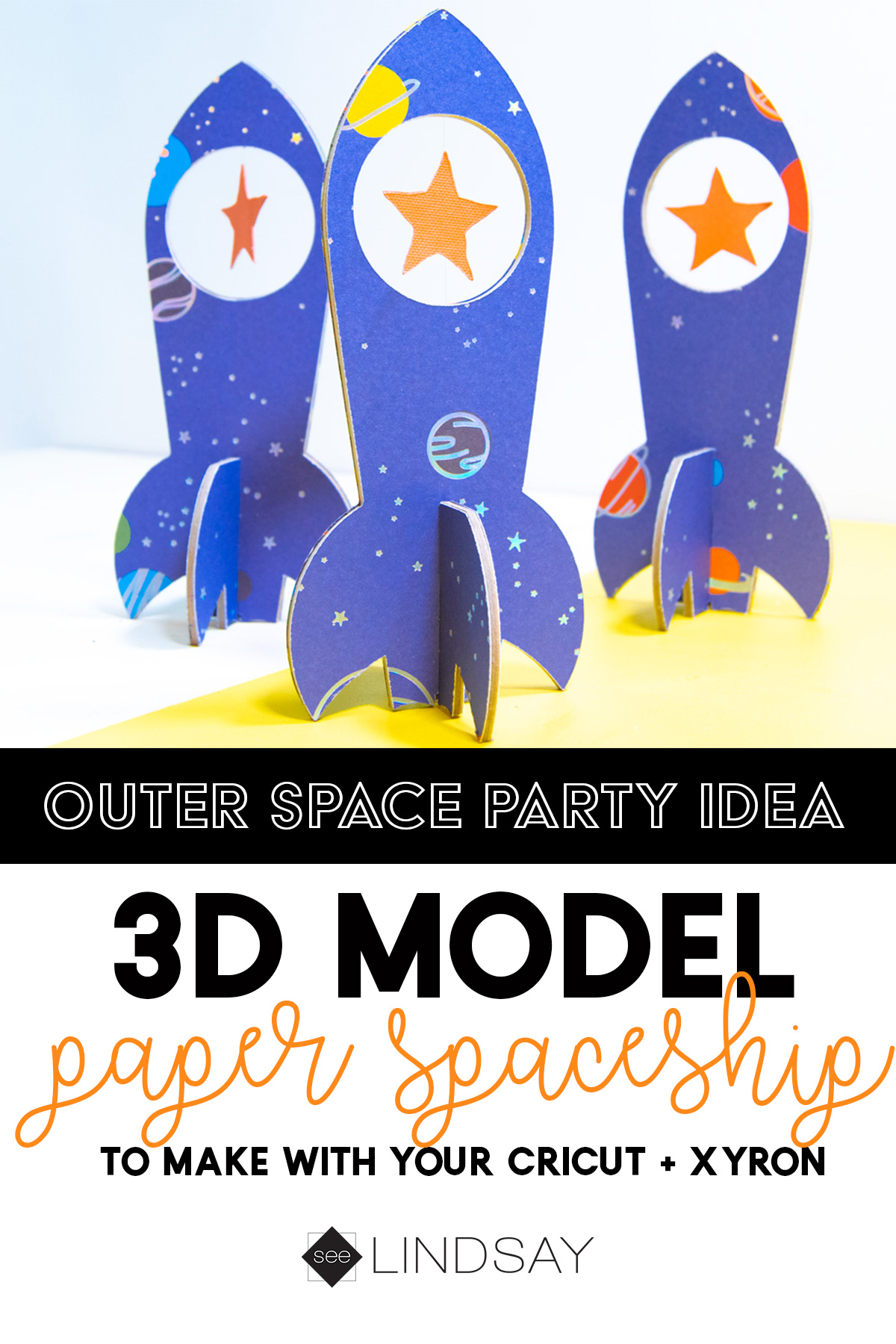 3d paper spaceships with Xyron Creative Station