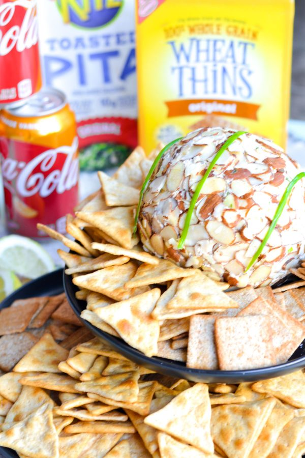 Onion Cheese Ball Recipe with crackers